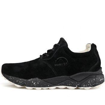 HUMTTO Women Running Shoes Cushioning Light Leather Breathable Sneakers - BLACK 38