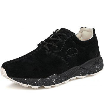 HUMTTO Women Running Shoes Cushioning Light Leather Breathable Sneakers - BLACK BLACK