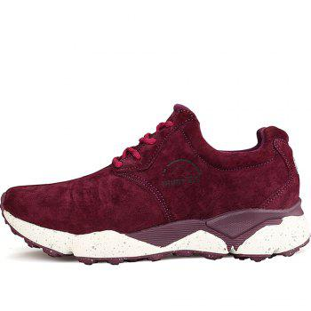 HUMTTO Women Running Shoes Cushioning Light Leather Breathable Sneakers - WINE RED 40