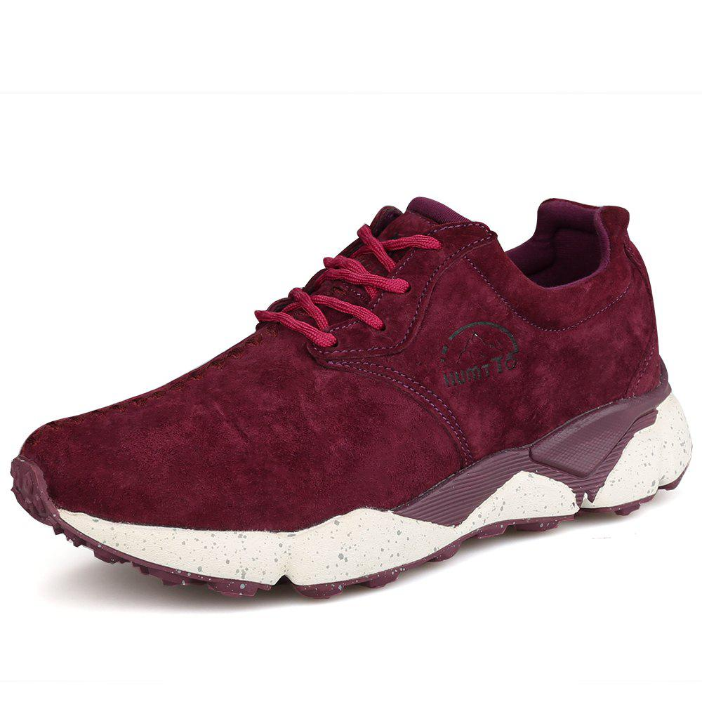 HUMTTO Women Running Shoes Cushioning Light Leather Breathable Sneakers - WINE RED 39