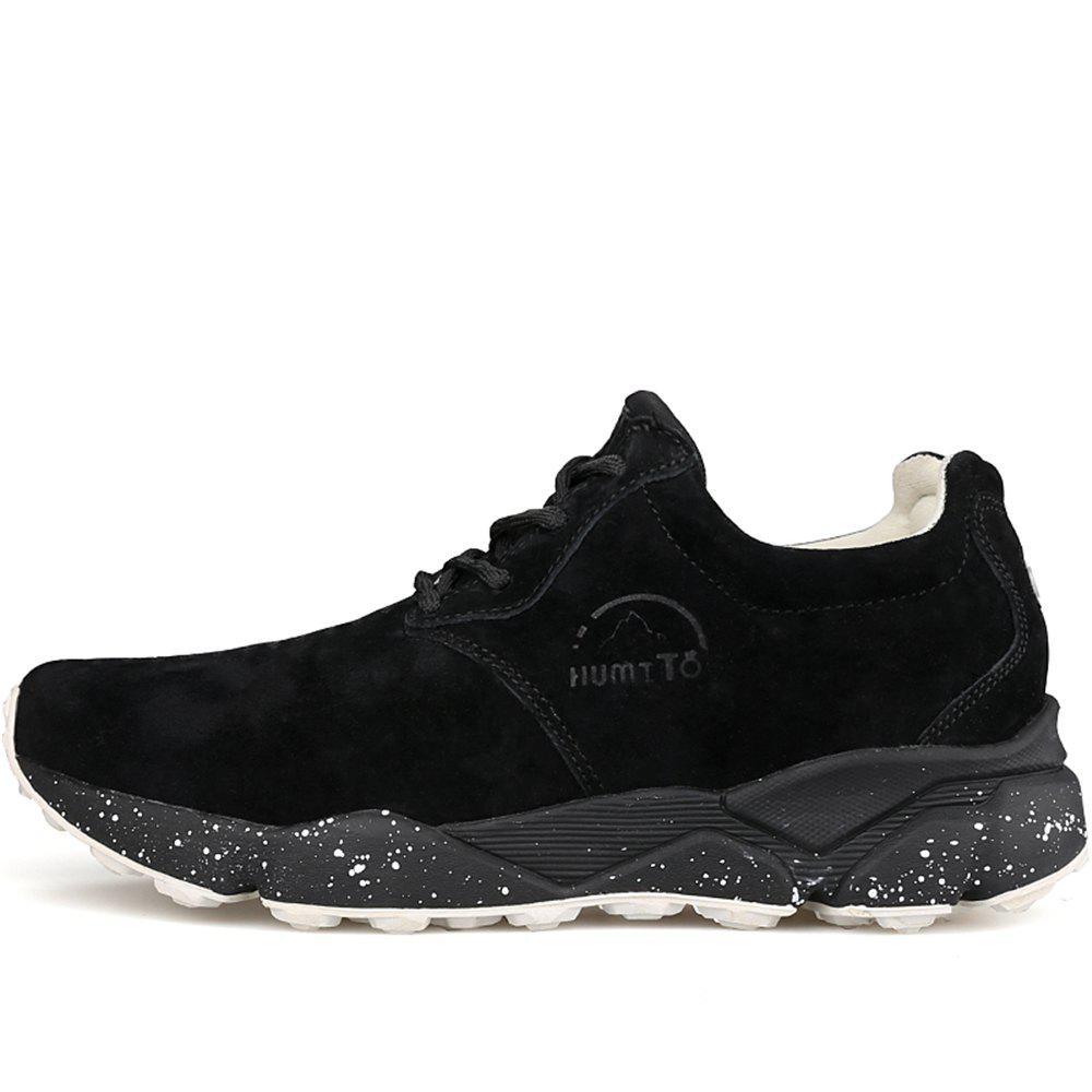 HUMTTO Women Running Shoes Cushioning Light Leather Breathable Sneakers - BLACK 39