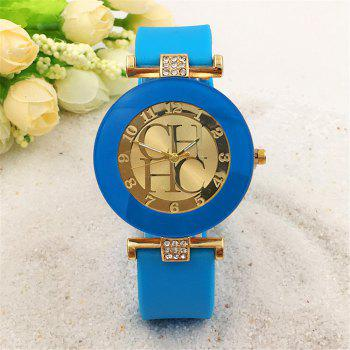 Fashion Preaty Casual Quartz Watch Women Crystal Silicone Watches Dress Watch - AZURE