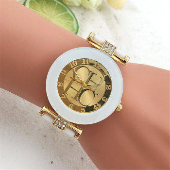 Fashion Preaty Casual Quartz Watch Women Crystal Silicone Watches Dress Watch -  WHITE