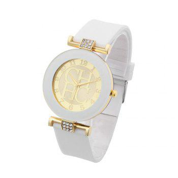 Fashion Preaty Casual Quartz Watch Women Crystal Silicone Watches Dress Watch - WHITE WHITE