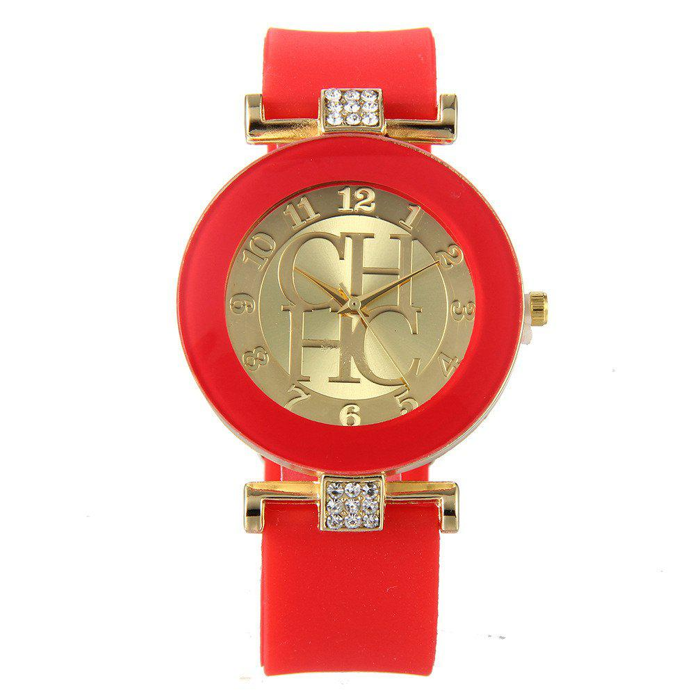 Fashion Preaty Casual Quartz Watch Women Crystal Silicone Watches Dress Watch - RED