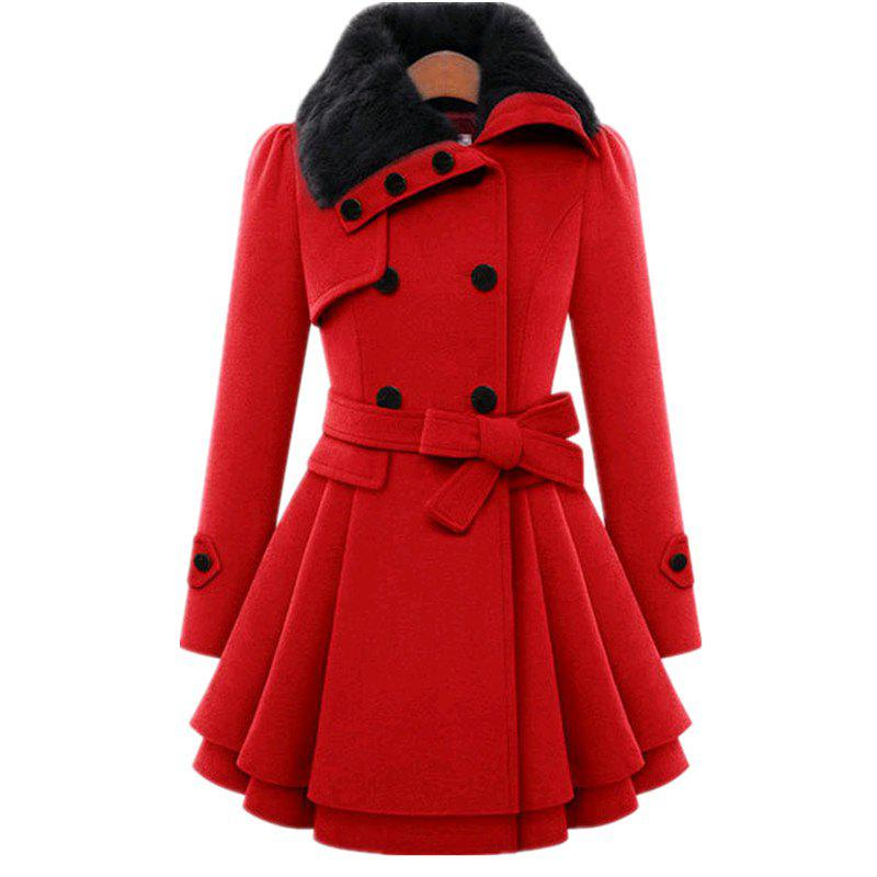 Double Breasted Coat and Belt - RED S