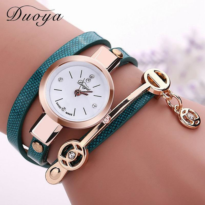 DUOYA D032 Women Wrap Around Leather Bracelet Wrist Watch with Pendant - LIGHT BLUE