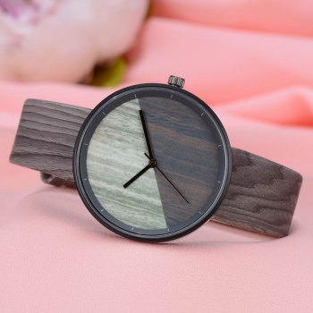 GAIETY Men's Wood Grain Pu Band  Wrist Watches G539 - GREY