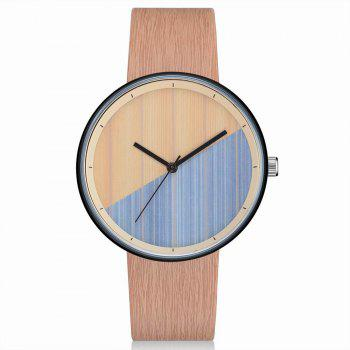 GAIETY Men's Wood Grain Pu Band  Wrist Watches G539 - BEIGE BEIGE