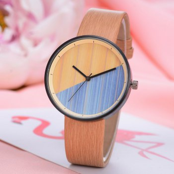 GAIETY Men's Wood Grain Pu Band  Wrist Watches G539 -  BEIGE