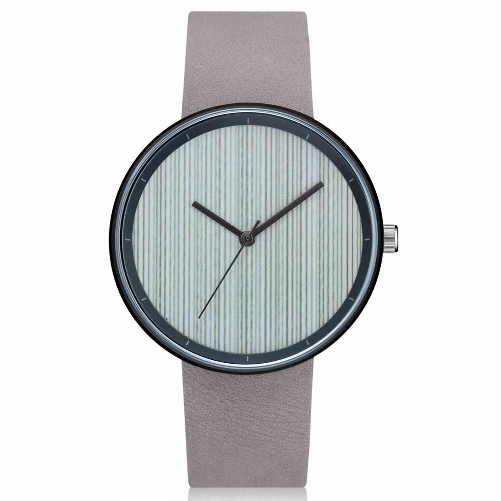 GAIETY Men's Casual Stripe Dial Leather Band Dress Watch G538 - GREY