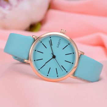 GAIETY Women's Rose Gold Simple Leather Strap Dress Watch G536 - BLUE