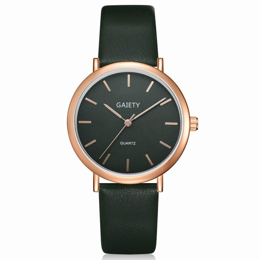 GAIETY Women's Classic Leather Strap Wrist Watch Rose Gold Tone G530 247 classic leather