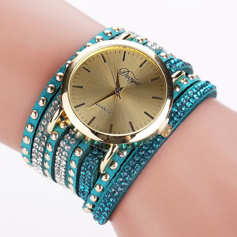DUOYA D017 Women Wrap Around Rhinestones Quartz Bracelet Wrist Watch d 500 0255 017 [ data bus components miniature coupler d 500 0255 017]
