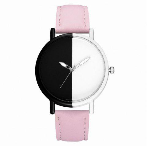 GAIETY Women's Two Tone Dial Leather Band Wrist Watches G523 - PINK