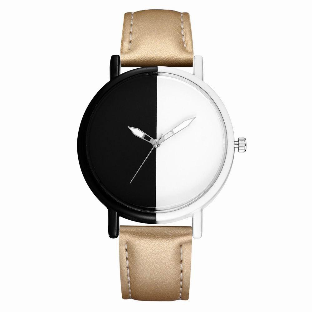GAIETY Women's Two Tone Dial Leather Band Wrist Watches G523 - GOLDEN
