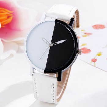 GAIETY Women Two Tone Dial Leather Strap Dress Watch G519 -  WHITE