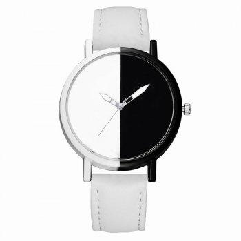 GAIETY Women Two Tone Dial Leather Strap Dress Watch G519 - WHITE WHITE