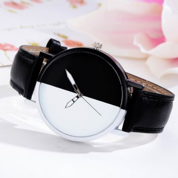 GAIETY Women Two Tone Dial Leather Strap Dress Watch G519 -  BLACK