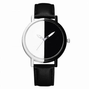 GAIETY Women Two Tone Dial Leather Strap Dress Watch G519 - BLACK BLACK