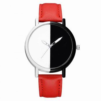 GAIETY Women Two Tone Dial Leather Strap Dress Watch G519 - RED RED