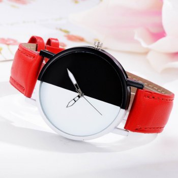 GAIETY Women Two Tone Dial Leather Strap Dress Watch G519 -  RED