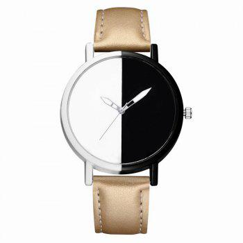 GAIETY Women Two Tone Dial Leather Strap Dress Watch G519 - GOLDEN