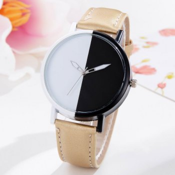 GAIETY Women Two Tone Dial Leather Strap Dress Watch G519 - GOLDEN GOLDEN