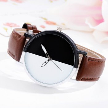 GAIETY Women Two Tone Dial Leather Strap Dress Watch G519 -  COFFE
