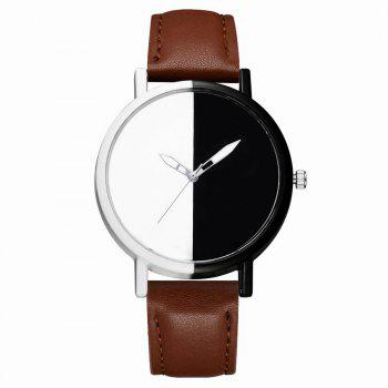 GAIETY Women Two Tone Dial Leather Strap Dress Watch G519 - COFFE COFFE