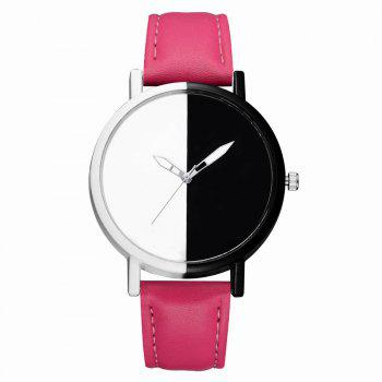 GAIETY Women Two Tone Dial Leather Strap Dress Watch G519 - ROSE RED ROSE RED