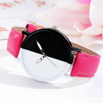 GAIETY Women Two Tone Dial Leather Strap Dress Watch G519 - ROSE RED