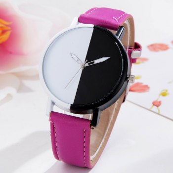 GAIETY Women Two Tone Dial Leather Strap Dress Watch G519 - PURPLE