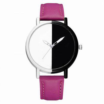 GAIETY Women Two Tone Dial Leather Strap Dress Watch G519 - PURPLE PURPLE