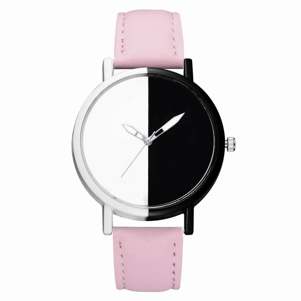 GAIETY Women Two Tone Dial Leather Strap Dress Watch G519 - PINK