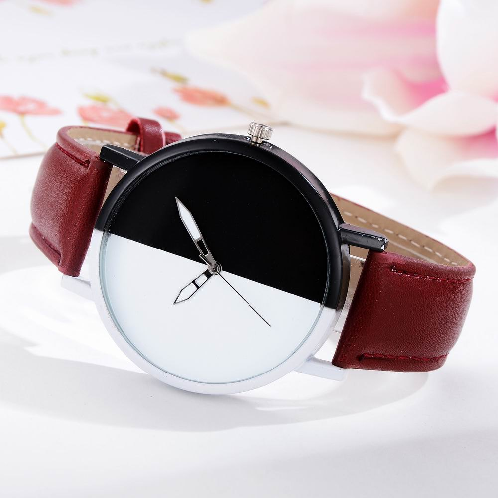 GAIETY Women Two Tone Dial Leather Strap Dress Watch G519 - BROWN