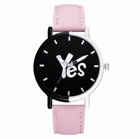 GAIETY Women's Two-Tone Letters Dial Leather Band Wrist Watch G516 - PINK