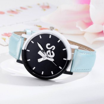 GAIETY Women's Two-Tone Letters Dial Leather Band Wrist Watch G516 -  SKY BLUE