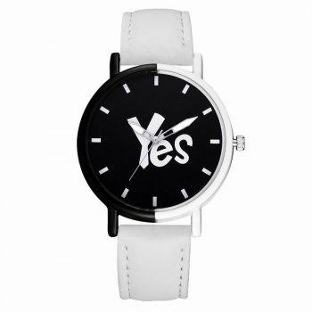 GAIETY Women's Two-Tone Letters Dial Leather Band Wrist Watch G516 - WHITE WHITE