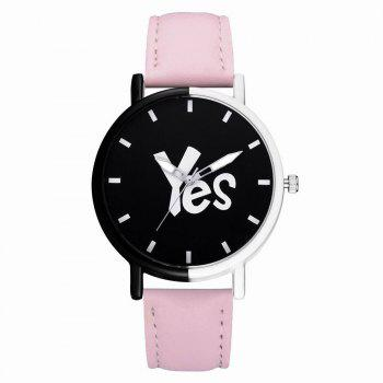 GAIETY Women's Two-Tone Letters Dial Leather Band Wrist Watch G516 - PINK PINK