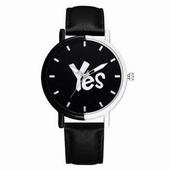 GAIETY Women's Two-Tone Letters Dial Leather Band Wrist Watch G516 - BLACK BLACK