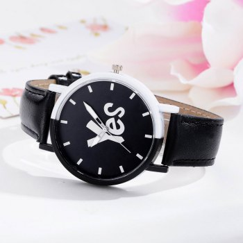 GAIETY Women's Two-Tone Letters Dial Leather Band Wrist Watch G516 - BLACK
