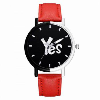 GAIETY Women's Two-Tone Letters Dial Leather Band Wrist Watch G516 - RED RED