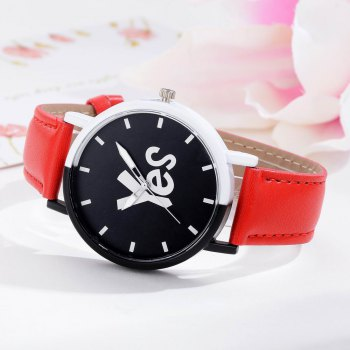GAIETY Women's Two-Tone Letters Dial Leather Band Wrist Watch G516 - RED