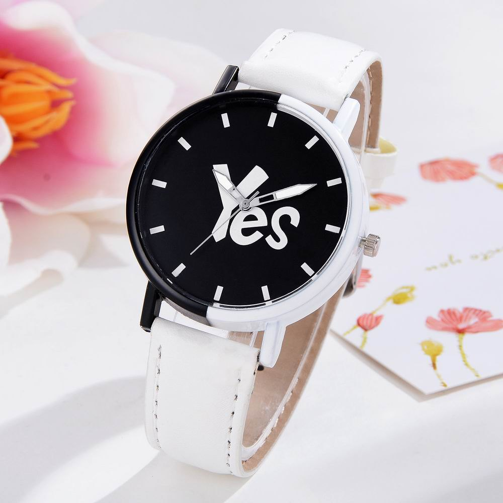 GAIETY Women's Two-Tone Letters Dial Leather Band Wrist Watch G516 - WHITE