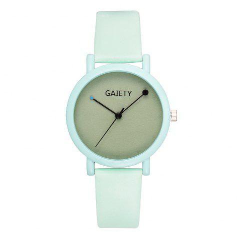 GAIETY G480 Women Casual Leather Band Analog Quartz Wrist Watch - GREEN