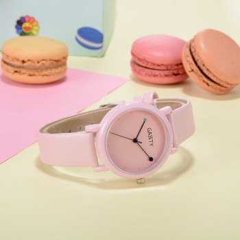GAIETY G480 Women Casual Leather Band Analog Quartz Wrist Watch - PINK