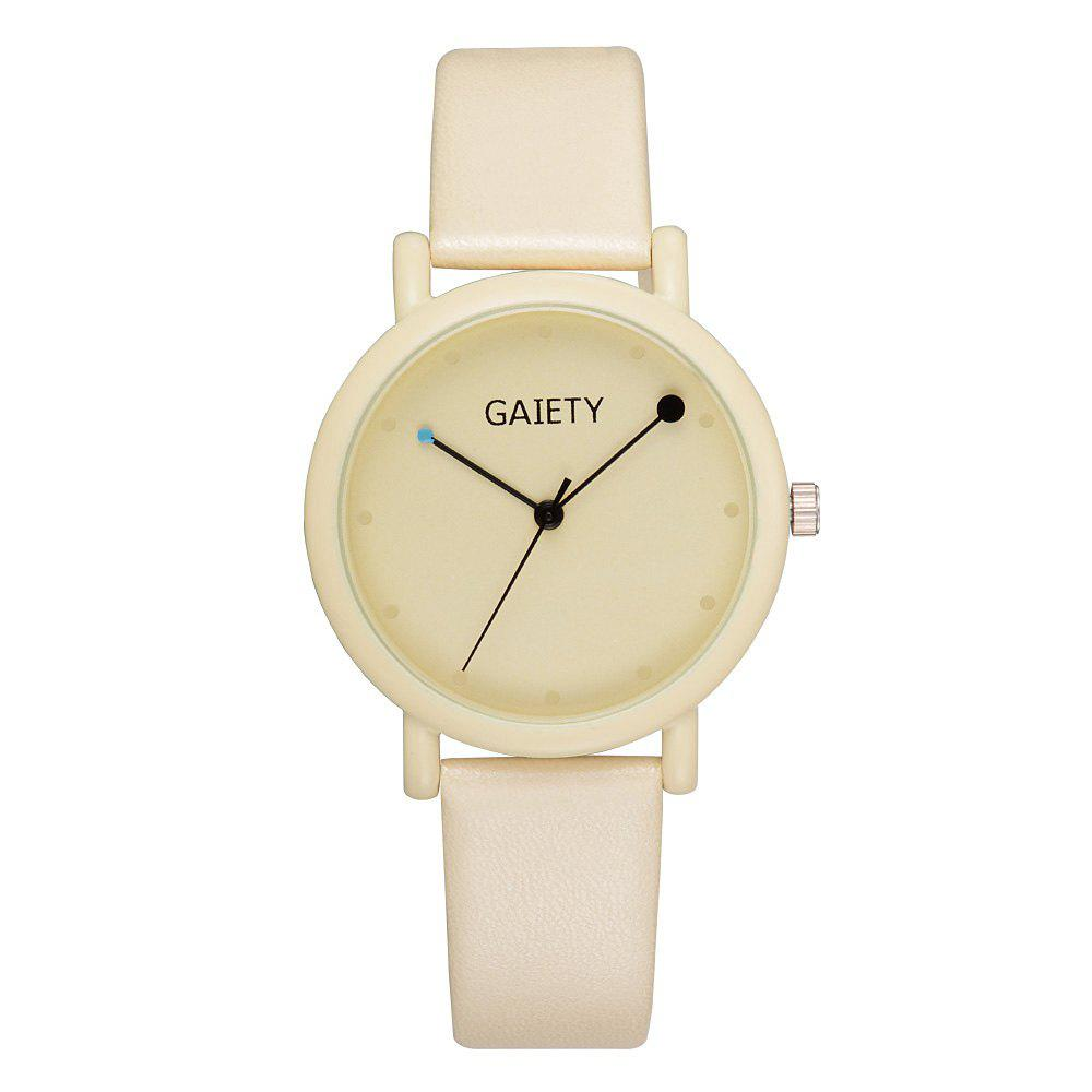 GAIETY G480 Women Casual Leather Band Analog Quartz Wrist Watch - YELLOW