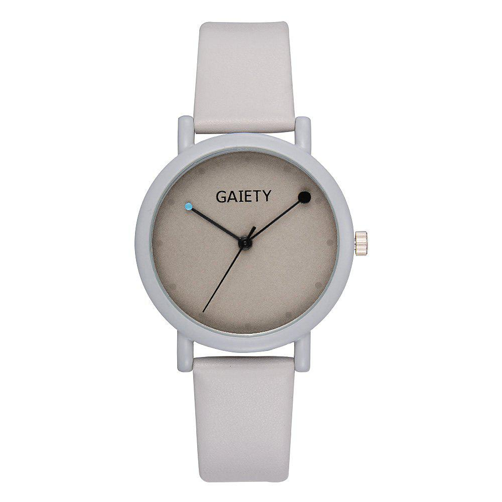 GAIETY G480 Women Casual Leather Band Analog Quartz Wrist Watch - GREY