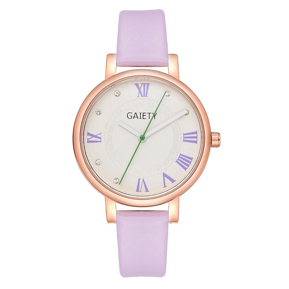 GAIETY G481 Ladies Fashion Leather Quartz Watch - PURPLE